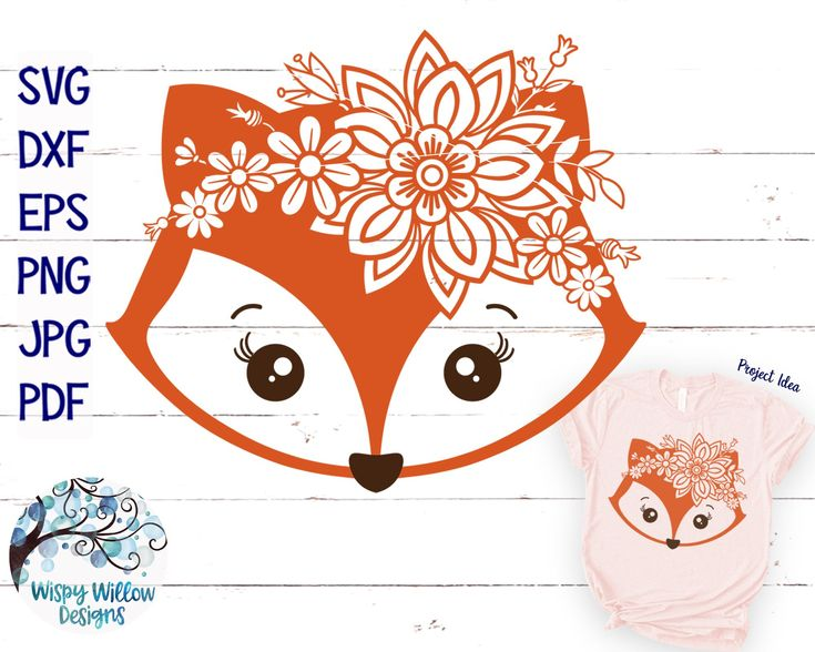 Floral Fox SVG Cut File | Girly Fox with Flowers S…