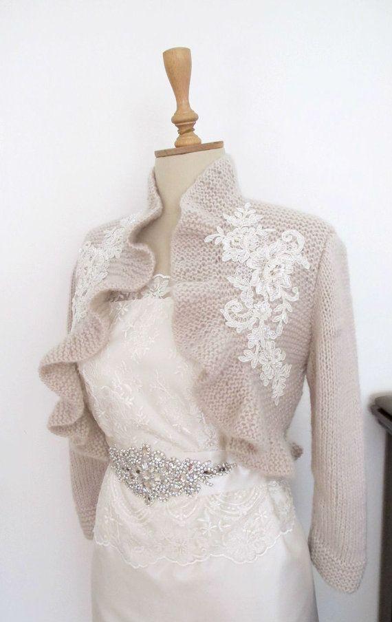Bridal Ruffle Bolero with Beaded Lace Wedding Shrug Shawl Wrap Capelet  3/4 sleeve Champagne Capuccino. $95.00, via Etsy.