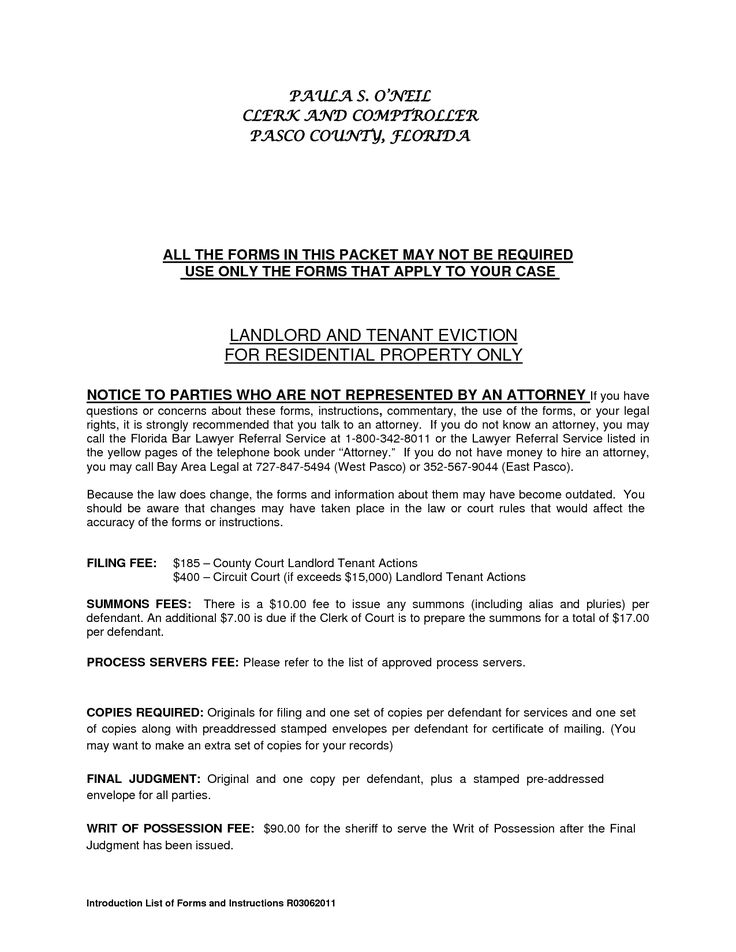 Residential Landlord Tenant Eviction Notice Form By