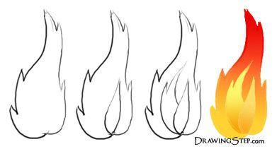 Flame Outline Drawings   flame drawings burning fire