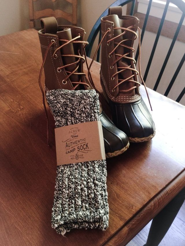 Bean boots and j crew socks