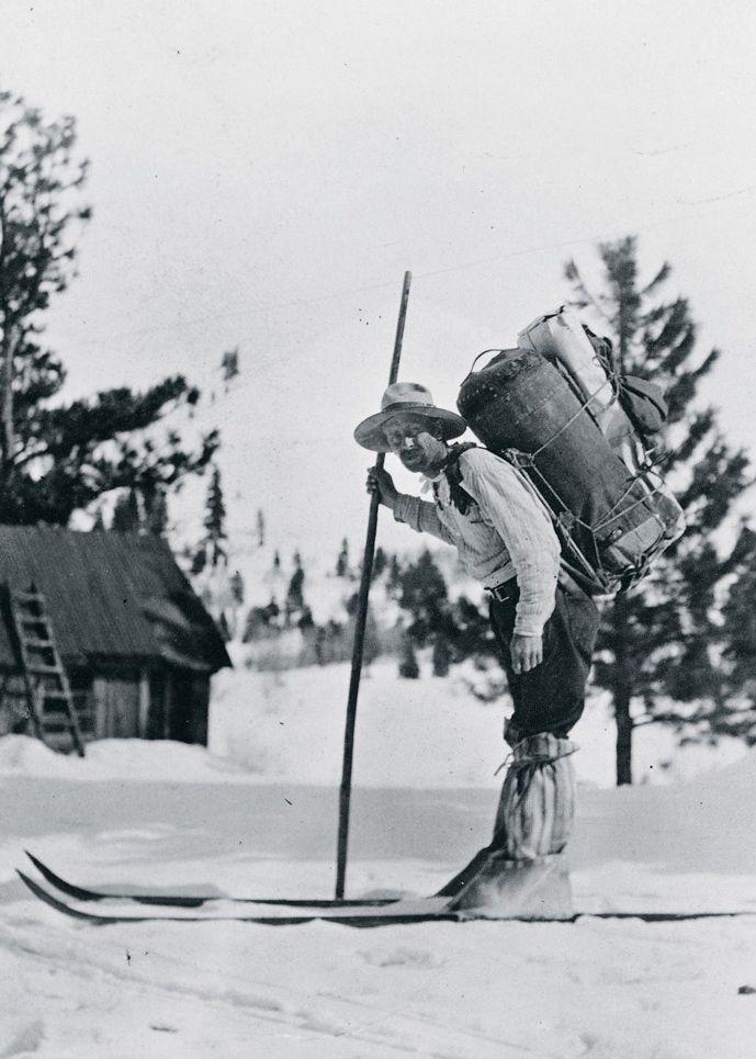 Star Mail Route Carrier Frank E. Stevens poses on skis ...