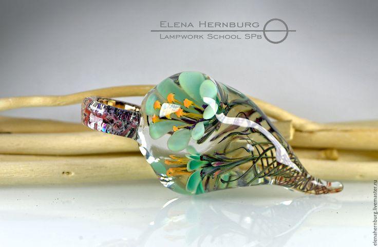 """Купить Кулон """"Бирюзовые цветы"""" Лэмпворк - авторский кулон, авторский лэмпворк, художественное стекло, стекло"""