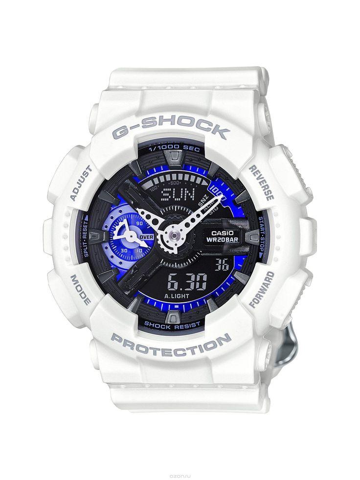 Часы наручные мужские Casio G-SHOCK, цвет: белый, черный, синий. GMA-S110CW-7A3