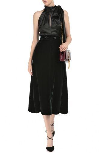 Женская зелёная бархатная юбка-миди с широким поясом Saint Laurent, сезон FW 16/17, арт. 436757/Y025W купить в ЦУМ   Фото №2