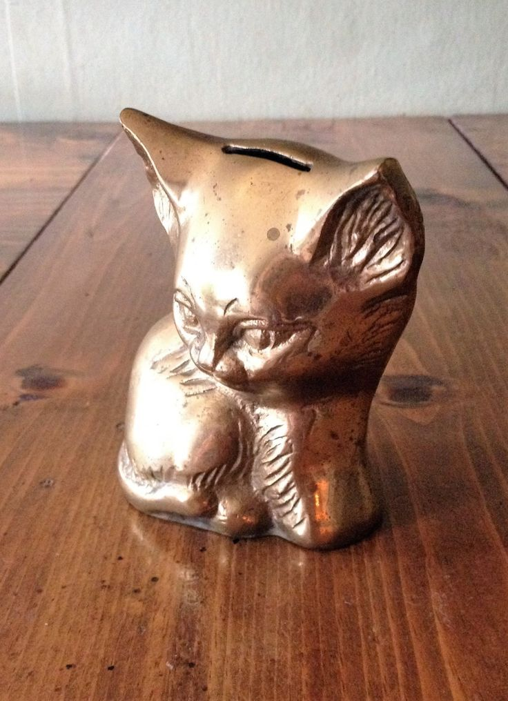 Vintage Brass Kitty Cat Piggy Bank, gold tone, shabby chic, animal,mid century, victorian, cute,coin holder, money storage, container, prop by Piklandia on Etsy