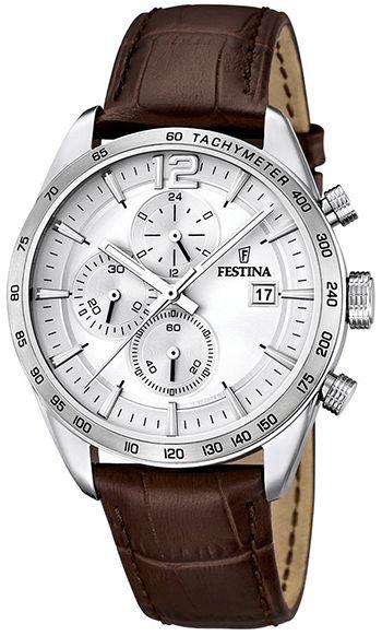 Montre Homme Festina Bracelet Cuir Marron - Quartz - Chronographe - Date - Chronomètre - Cadran en Acier inoxydable Argent