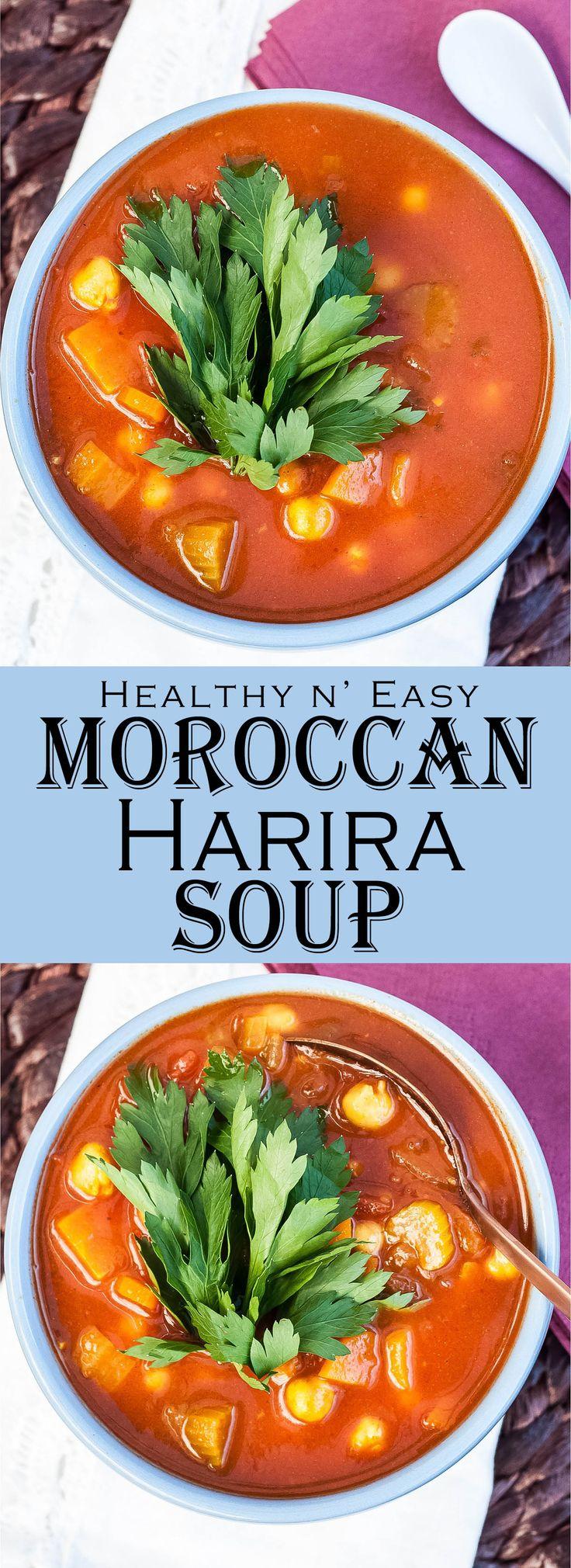 Healthy, easy to make, Vegan & GF Moroccan Harira Soup Recipe | VeganFamilyRecipes.com | #vegetarian #glutenfree #plantbased
