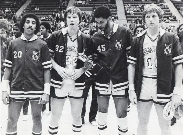 Current University of Washington basketball coach Lorenzo Romar, far left, with Stan Walker, James Woods and Steve Matzen.