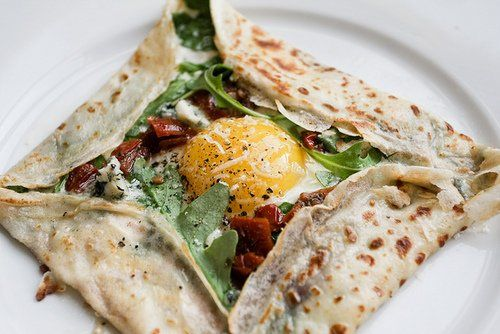 The ultimate lunch crepe! It has veggies, protein and everything in between! Bon apetit!