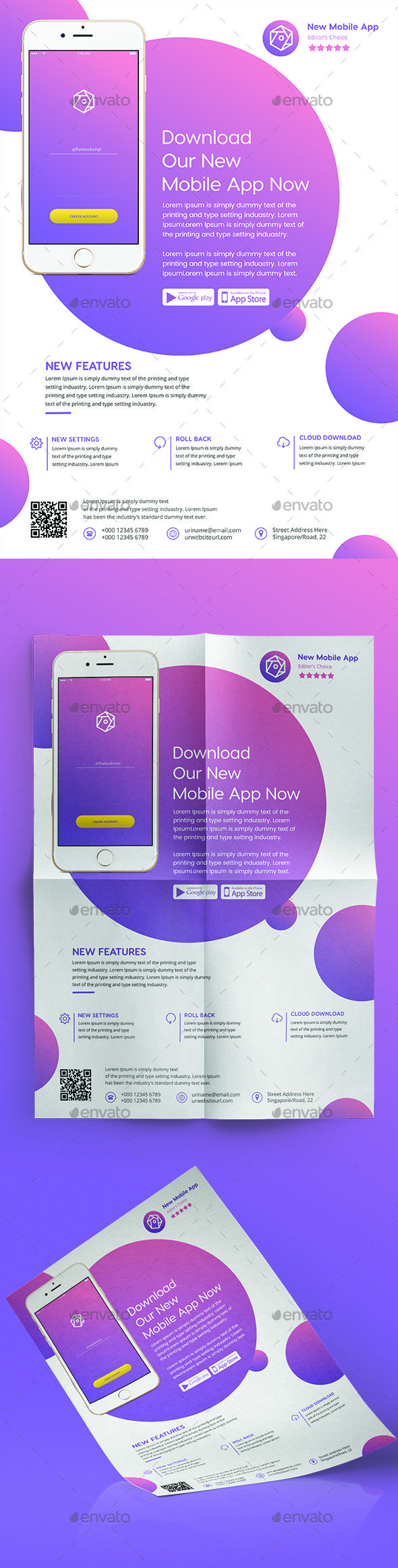 Mobile App Flyer Template PSD