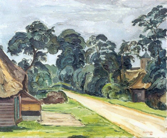 Dirk' Herman Willem Filarski Amsterdam 1885-1964 Zeist Dorpsweg te Staphorst, olie op doek 54 x 65,4 cm., gesigneerd r.o. en gedateerd '39