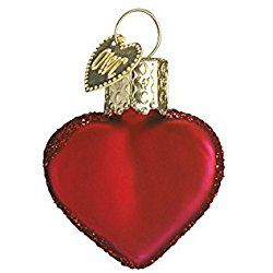 Old World Valentine's Day Small Red Heart Glass Blown Ornament