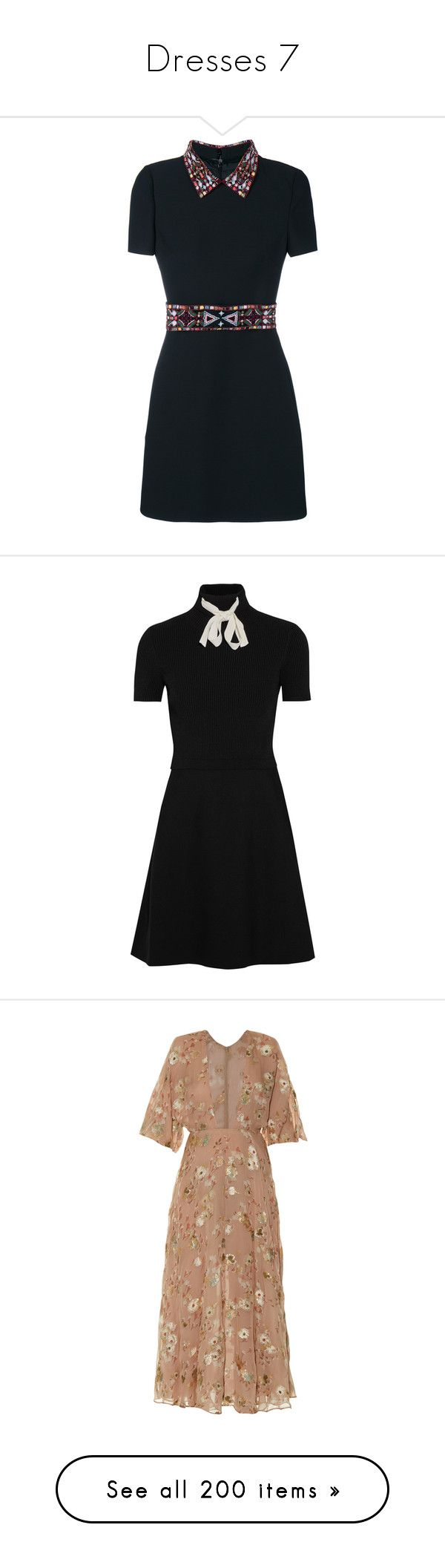 """""""Dresses 7"""" by lashanna-bing ❤ liked on Polyvore featuring dresses, vestidos, short dresses, embroidery dresses, short beaded dress, short sleeve a line dress, short sleeve mini dress, rib dress, stretch knit dress and gucci dress"""