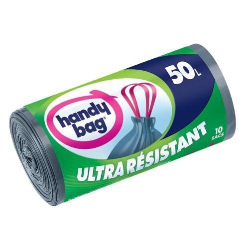 Handy Bag - Rouleaux de 10 Sacs Poubelle 50 L Poignées Coulissantes - LOT de 2