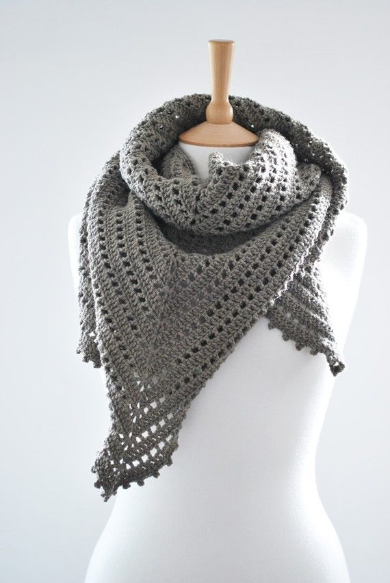 The Agena Triangular Shawl in Grey