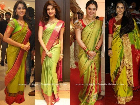 Celebrity Green Silk Sarees and Blouse Designs