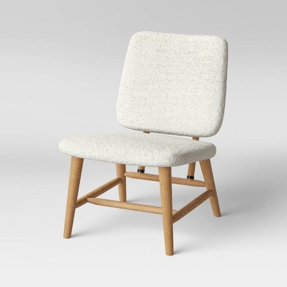 Thurlow Wood Base Slipper Chair Cream Project 62 Beige Chair