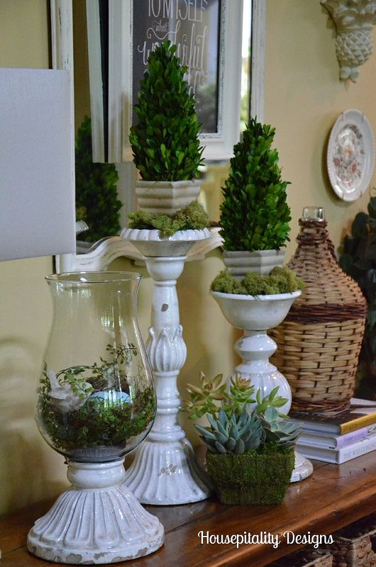 A Spring Vignette {Pottery Barn Candlesticks and Leah Hurricane}