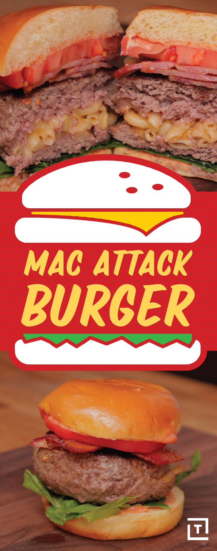 Food Steez is mashing up everyones 2 favorite things to create the Mac Attack Burger, aka homemade gooey mac 'n cheese stuffed into beef patties, and grilled to juicy perfection for a burger that'll leave you totally stuffed and satisfied, you won't regret it.