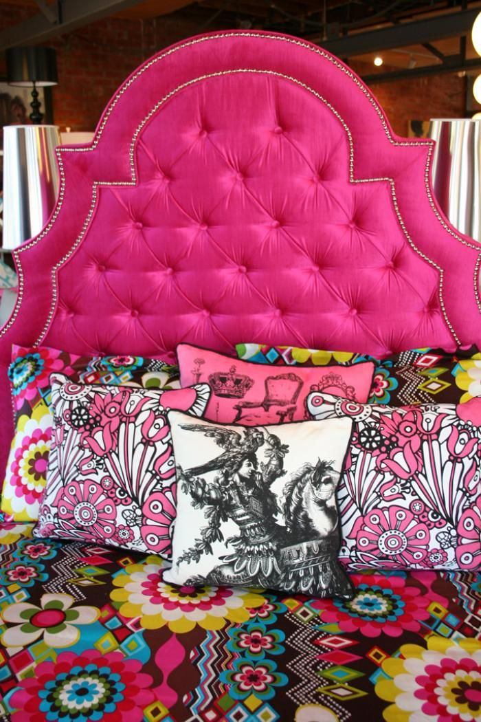 Hot Pink Marrakesh Headboard, this would be really cute for my oldest daughters bedroom!