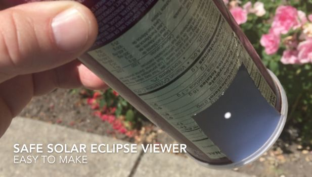 DIY Safe Total Solar Eclipse viewer. Pringles can, paper, glue and push pin. August 21st, 2017