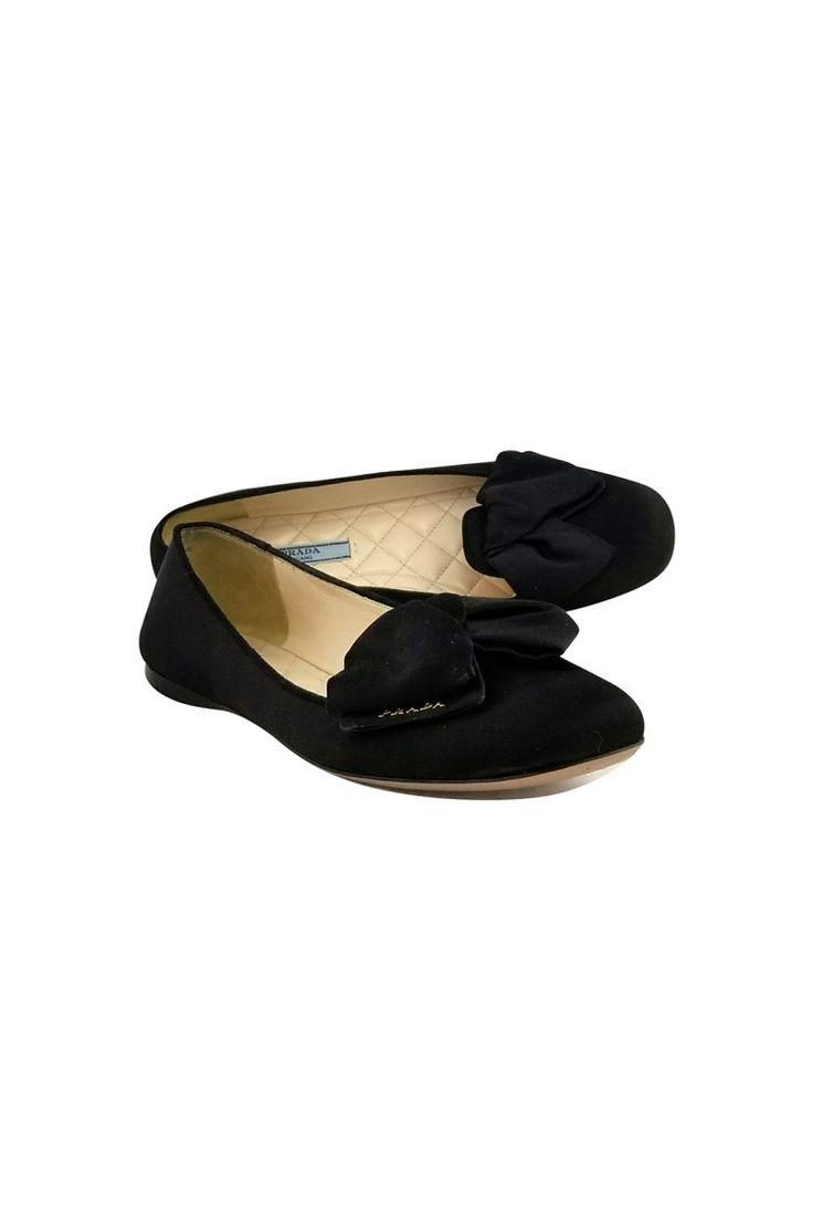 Prada- Black Satin Bow Flats Sz 8 | Current Boutique