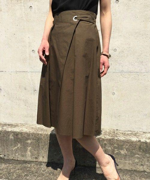 aquagirl(アクアガール)のタック入りコットンラップスカート(スカート)|グリーン