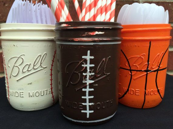 Hand Painted Sports Theme Birthday Decor. Baseball, Basketball, Football Birthday Decor. Sports Home Decor. Man Cave Decor. Mason Jars