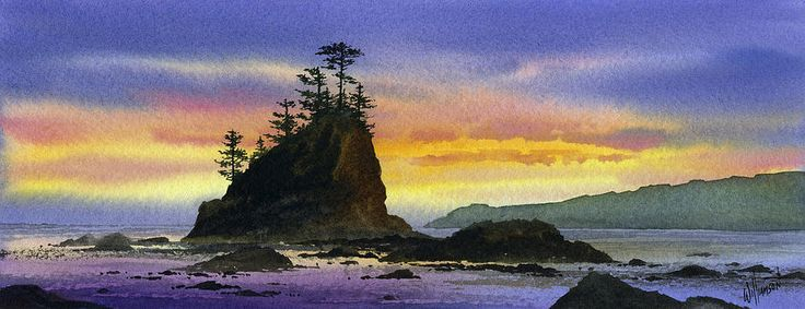 Bright Seacoast Sunset by James Williamson ~ Olympic coast Pacific Northwest ~ watercolor