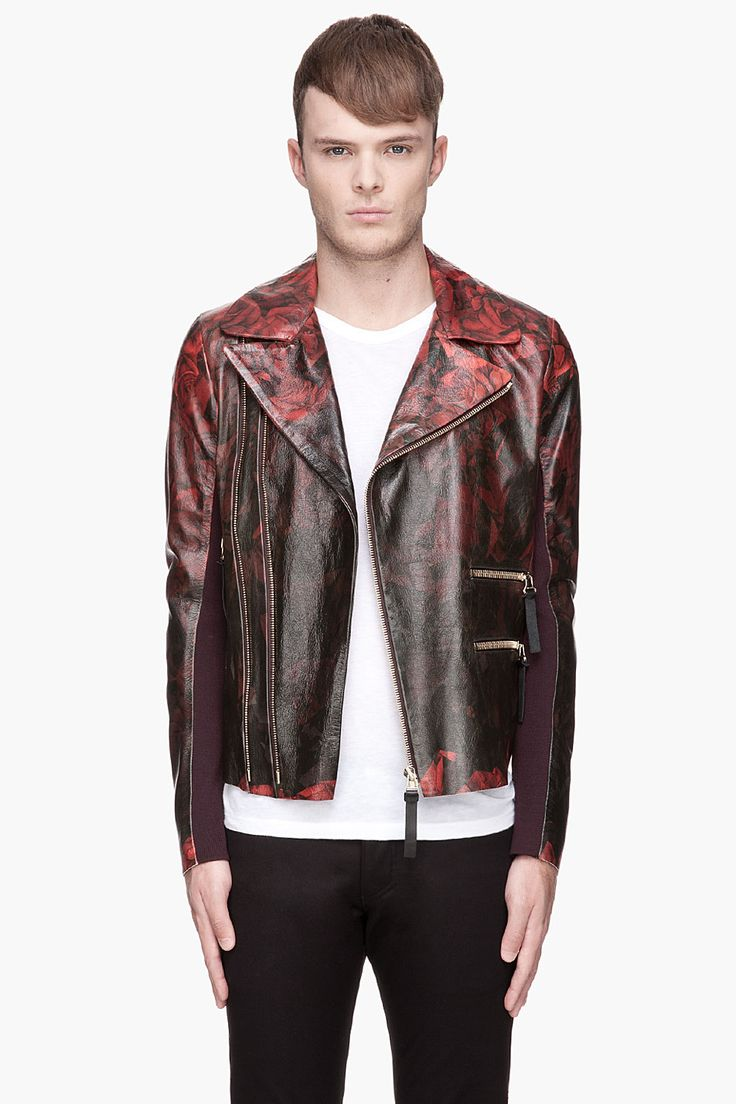 PAUL SMITH  Red and black Leather gradient Rose biker Jacket