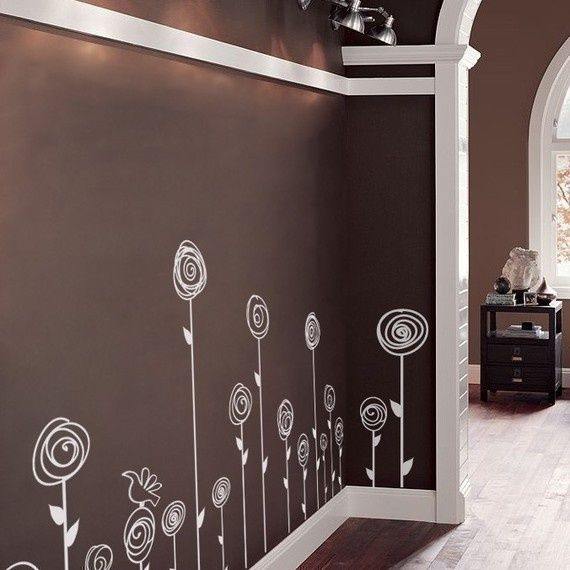 Love these walls - would be a very cute simple idea for a little girl's room or laundry room