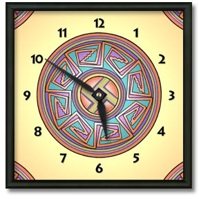 Sun in Mimbres Square Metal Wall Clock - From our Southwestern Clocks category, this clock is inspired by traditional Native American pottery designs.  $50.00