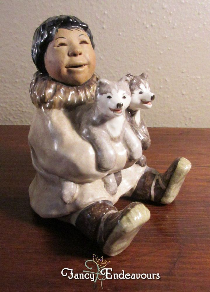 C. Alan Johnson Figurine Christopher Inuit Eskimo Boy with ...