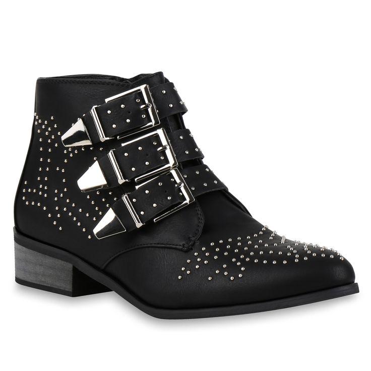 Damen Stiefeletten Ankle Boots Schwarz