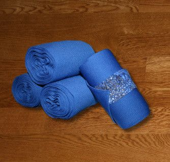 """Equine Standing Wraps/Royal Standing Wraps w/Blue Galaxy Velcro Straps These stylish standing wraps are made of navy stretch polyester. Made with industrial strength velcro to ensure a strong hold. Sold in Set of 4 Wraps. Two sizes offered: Pony: 2 yards (6ft) long, 5"""" wide or Horse: 4 Yards (12 ft) long, 5"""" wide"""