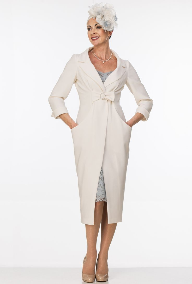 Ivory wool tulip coat and lace dress