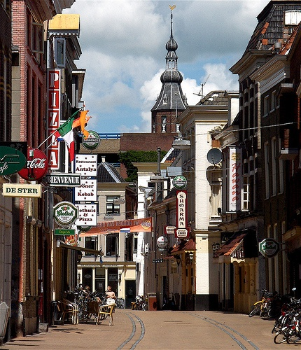One of the little streets in the Centre of  Groningen