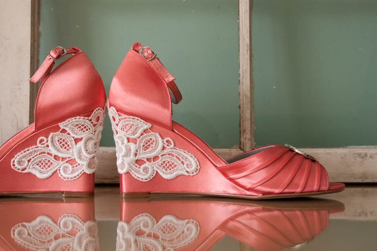 Satin and lace wedding shoes wedge sandals embellished with Venice lace and large crystal brooch