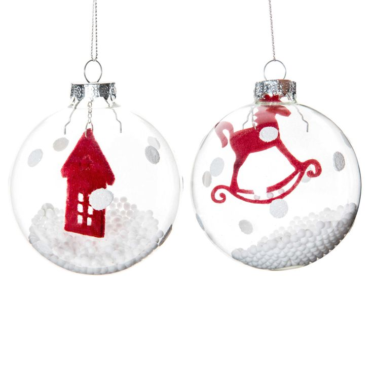 Palline di Natale trasparenti in vetro 8 cm   - Venduto x 6