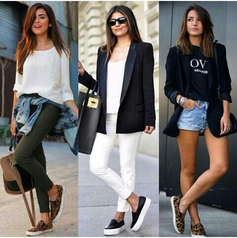 Three ways to rock your slip-ons .comfy outfit | sporty lock | collage by.