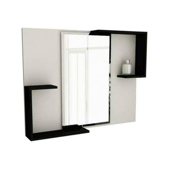 Espelheira de Banheiro Retangular 80 cm Branco & Preto Tomdo