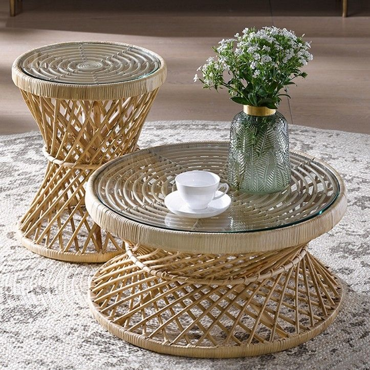 Oza Rustic Cottage Rattan Coffee Table Round Glass Top Coffee