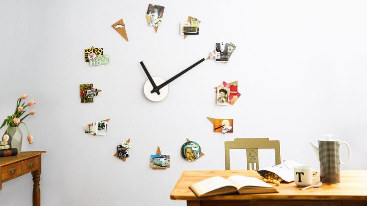 Image of homemade wall clock feature with photographs of family and friendship memories