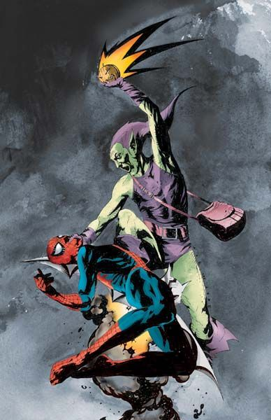 crazyforcatscomicsandchubbygirls:  Spidey vs. Green Goblin by Jae Lee