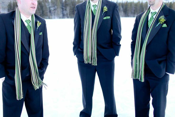 Groomsmen matching scarves