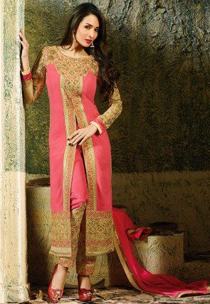 Embroidered Georgette Straight Cut Front Slit Suit in Pink