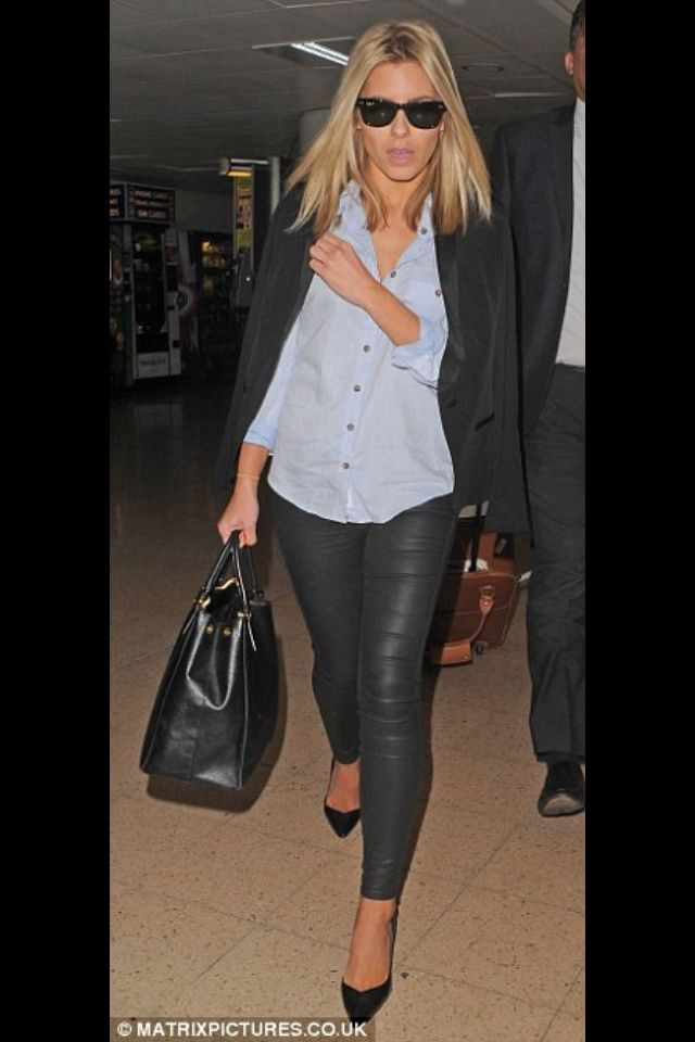 """nice Inspiration look """"Day to night"""" : Leather pants, jean button up, blazer, black heels or boots/booties..."""