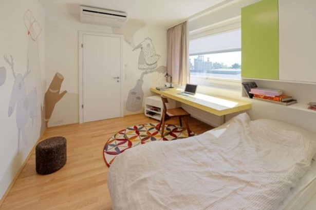 Living Room, Colourful Elegance Bedroom With White Large Bed And Parquet Wood Floor: The Nussberg Penthouse : Playfulness Meets Rustic Elegance
