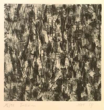 """Claude #Gagean """"Incisions"""", 1989. Aguatinta y punta seca sobre Metal de 20x20 cm., Papel Arches de 250 gr de medidas 45.5x31 cm. Ej.: 25 #art #etching"""